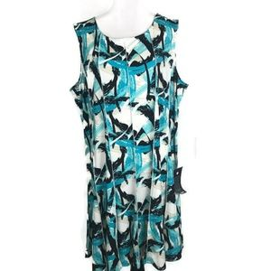 Avenue Dress Size 30/32 Blue White Shift Dress